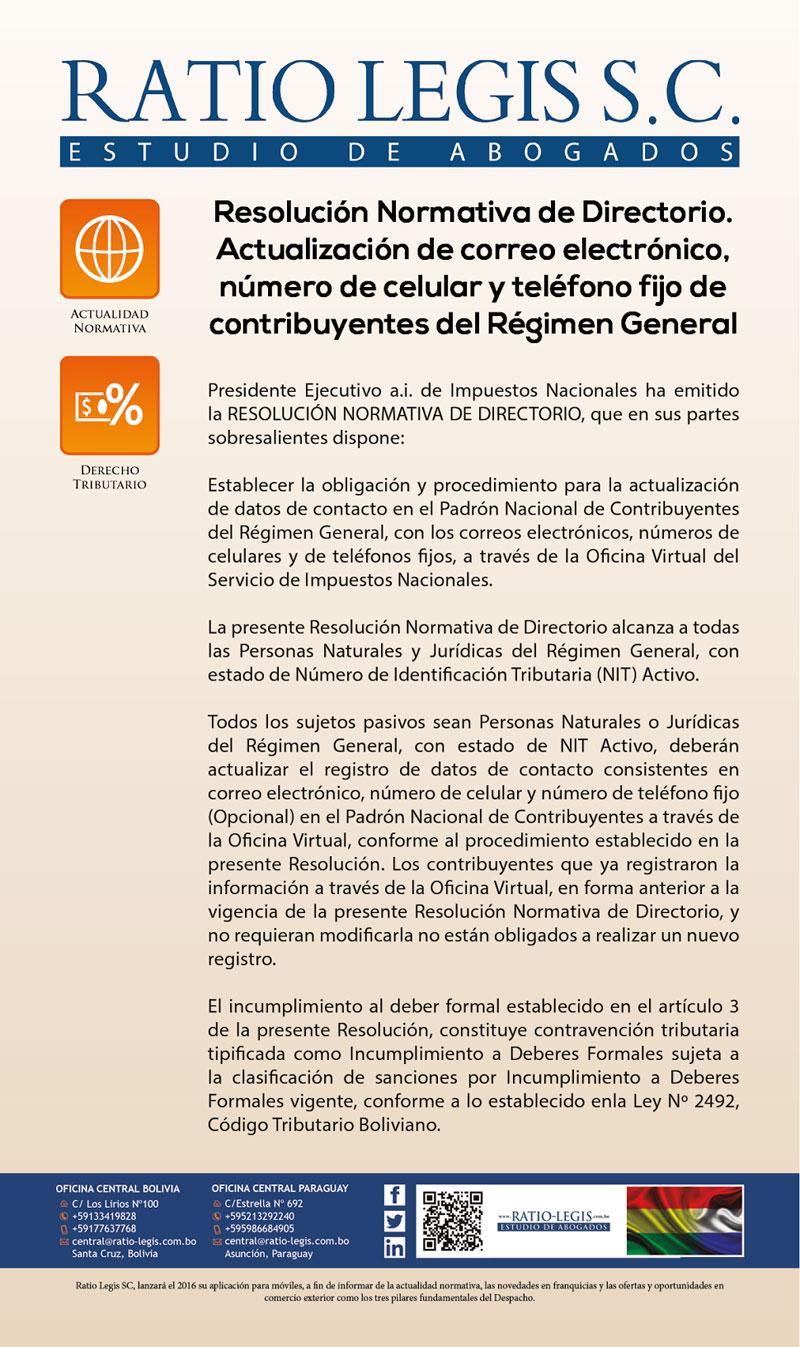 Resolución Normativa de Directorio.