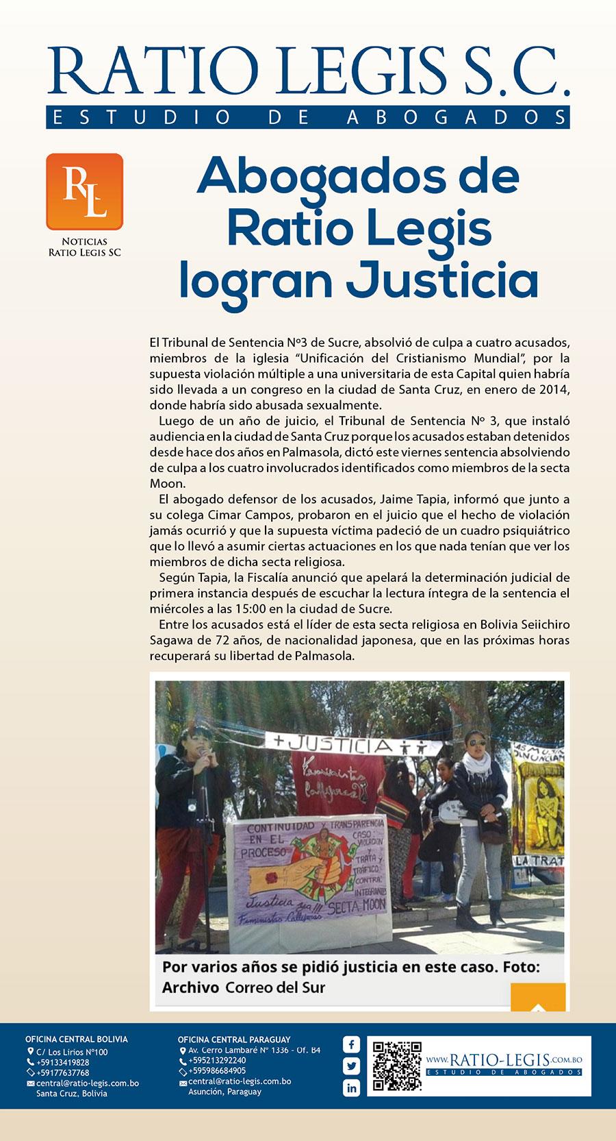 Abogados de Ratio Legis logran Justicia