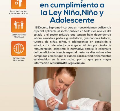 Licencia Especial en cumplimiento a la ley Niña, Niño y Adolescente
