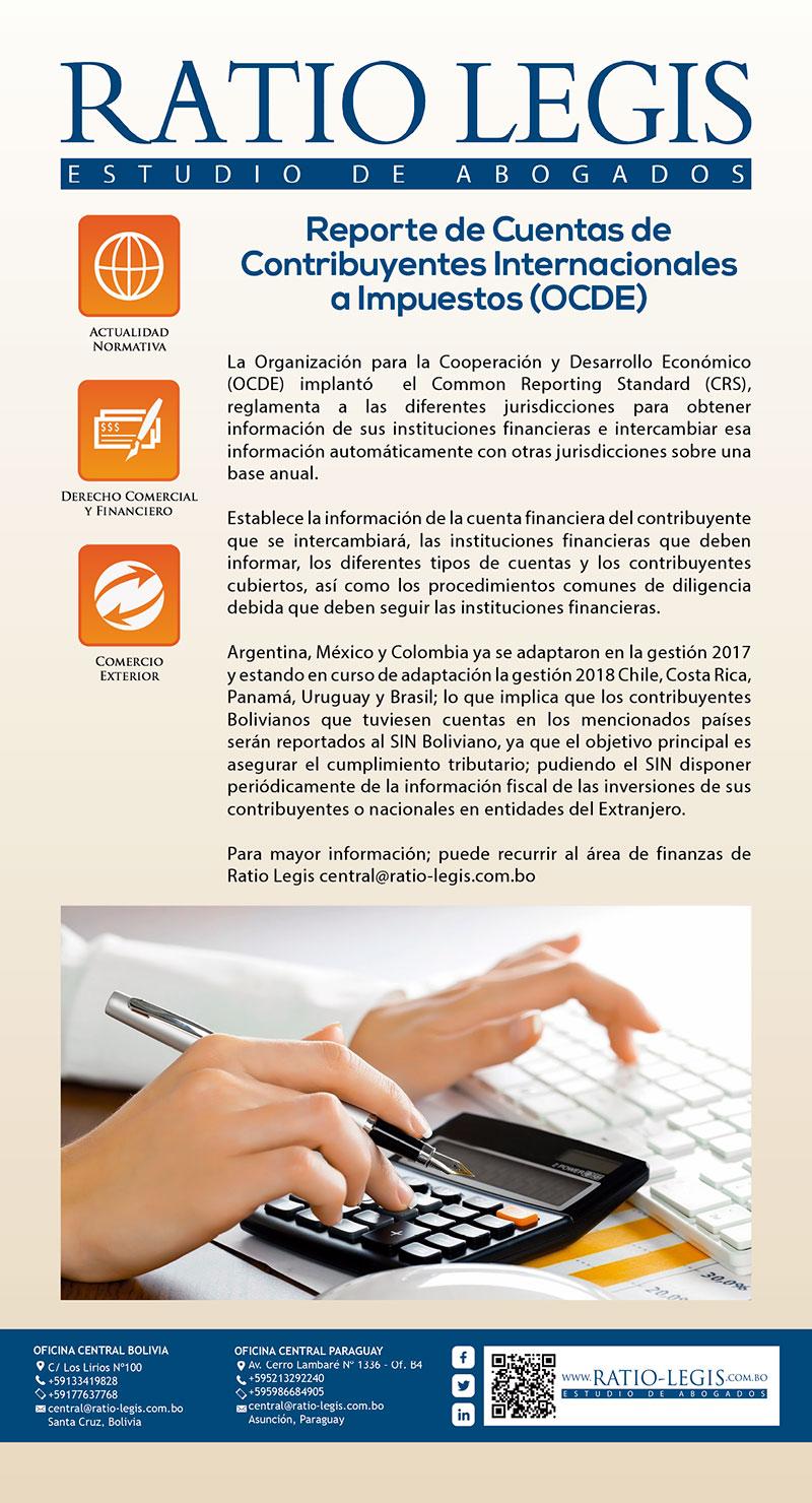 Reporte de Cuentas de Contribuyentes Internacionales a Impuestos. (OCDE)