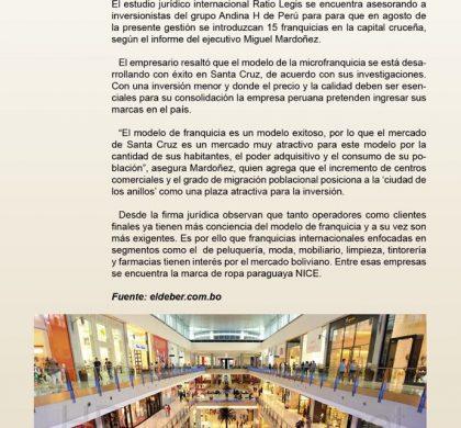 Hay Interés por introducir a 15 marcas peruanas en Santa Cruz