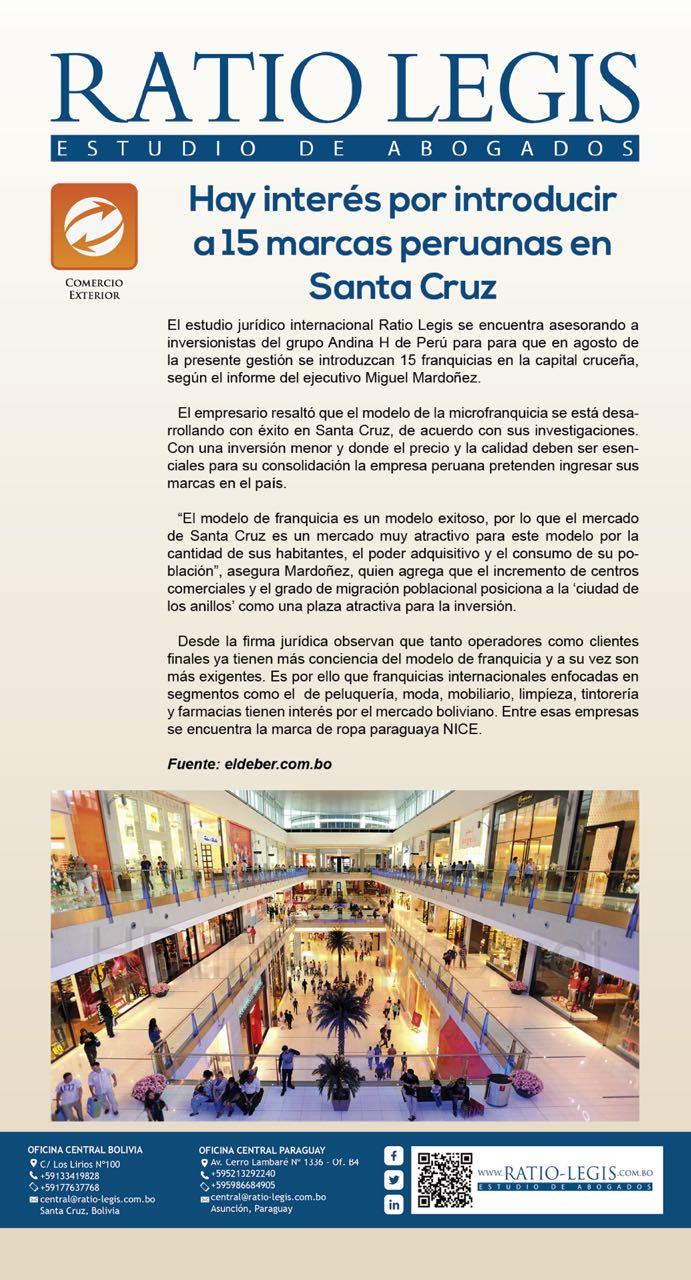 (Español) Hay Interés por introducir a 15 marcas peruanas en Santa Cruz