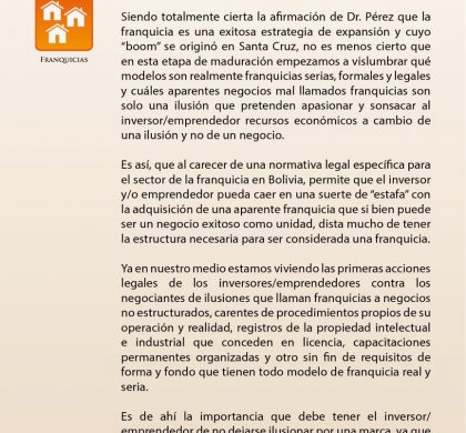 Franquicias en Bolivia. La formalidad versus la ilusión