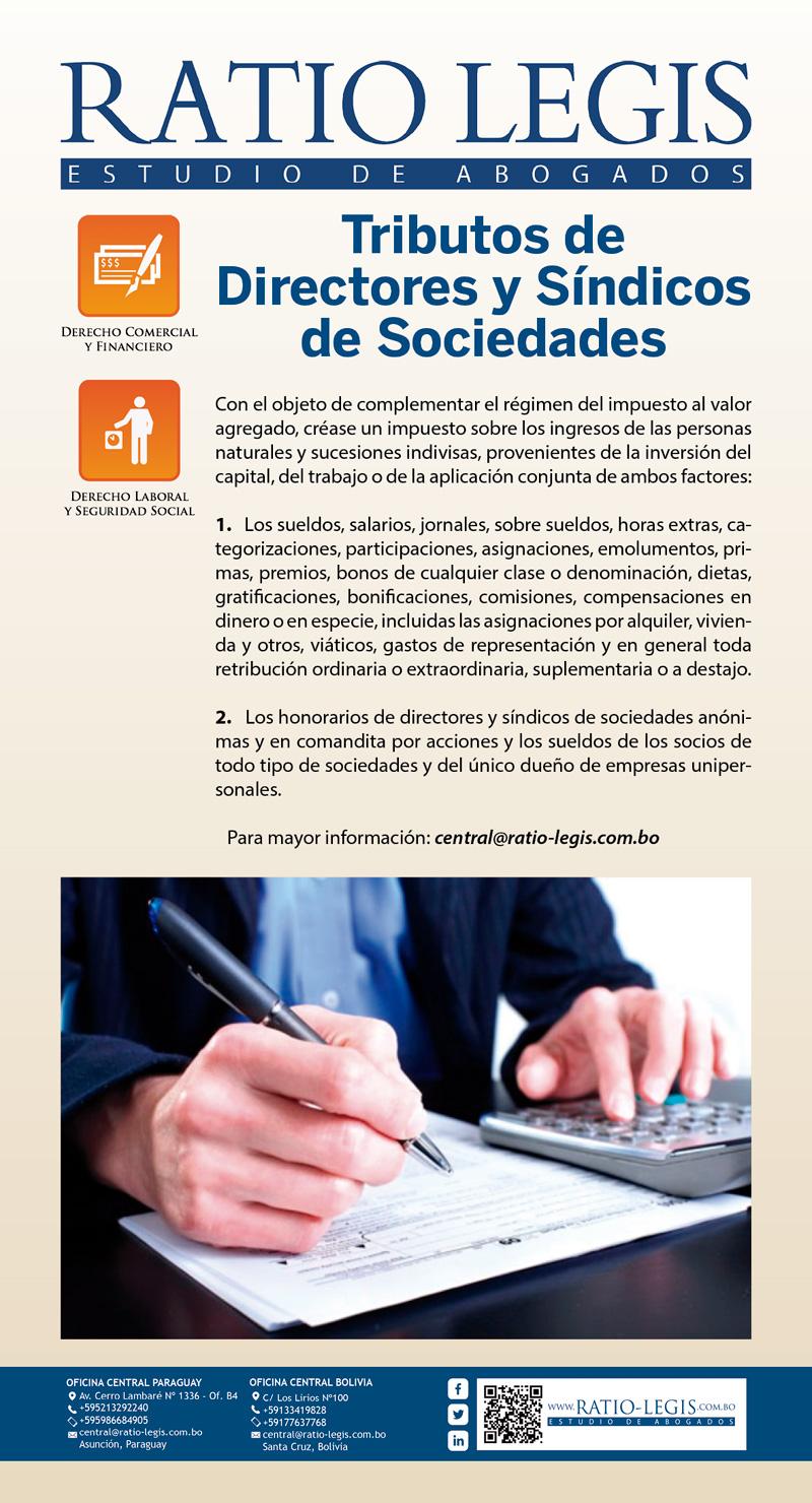 Tributos de Directores y Síndicos de Sociedades