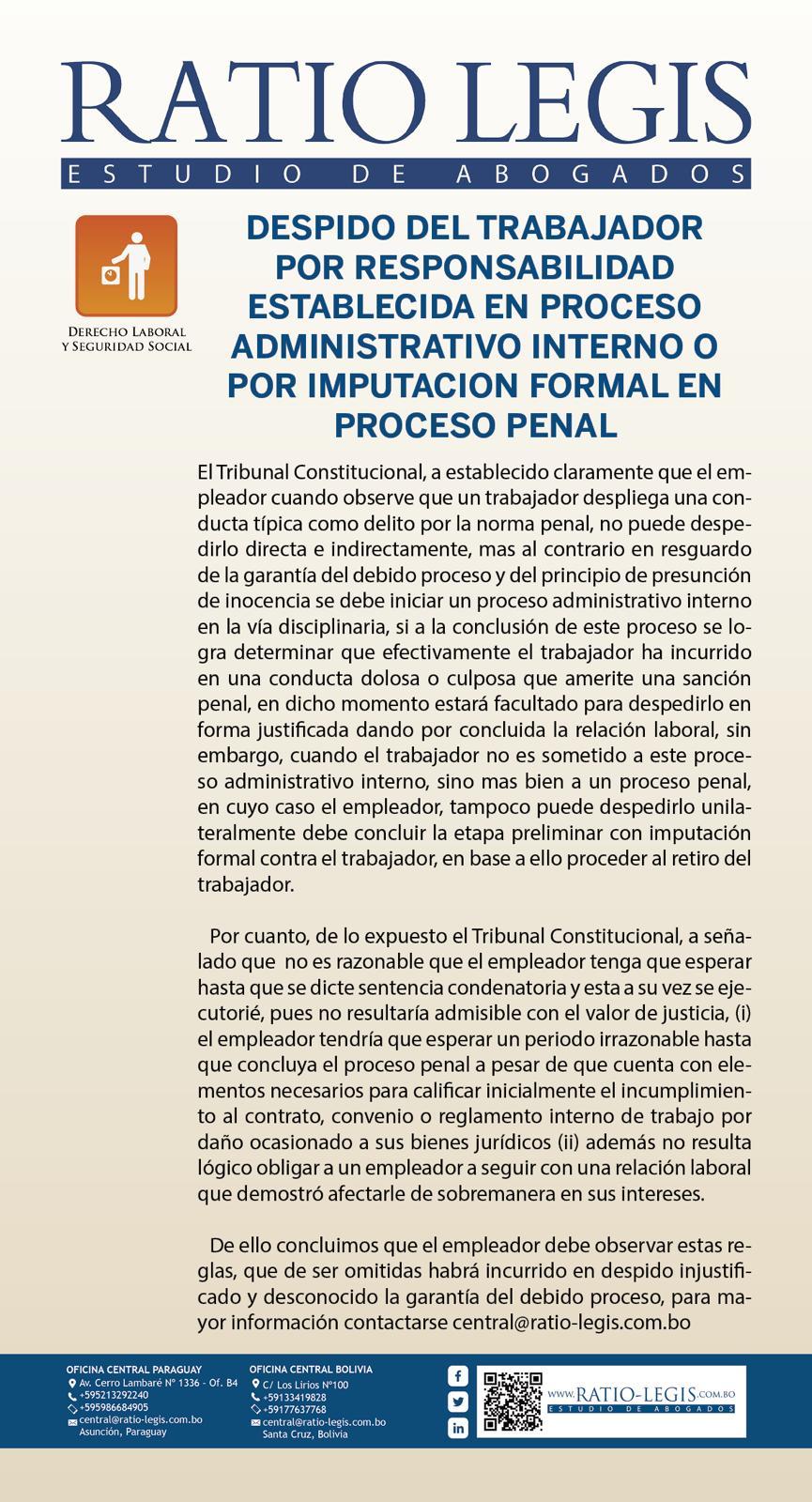 Despido del trabajador por responsabilidad establecida en proceso administrativo interno o por imputación formal en proceso penal