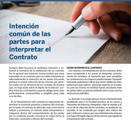 (Español) Intención común de las partes para interpretar el contrato
