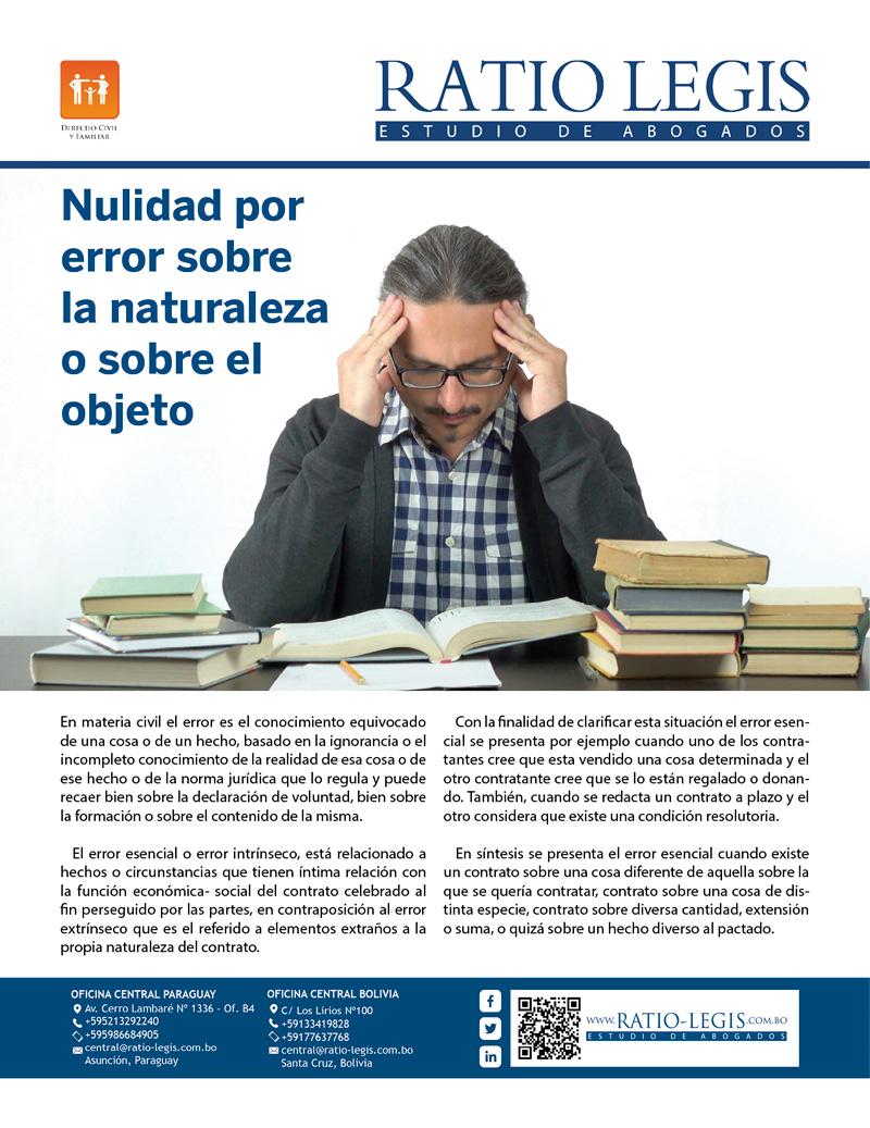 (Español) Nulidad por error sobre naturaleza o sobre el objeto