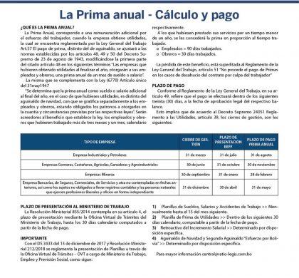 La Prima anual – Cálculo y pago