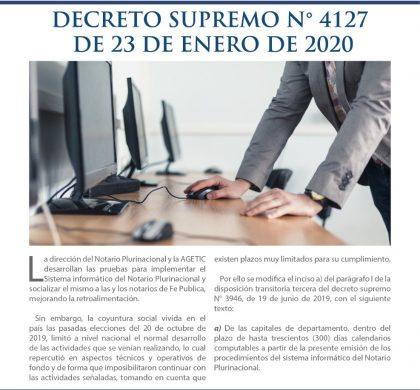 Decreto Supremo Nº 4127 de 23 de Enero de 2020