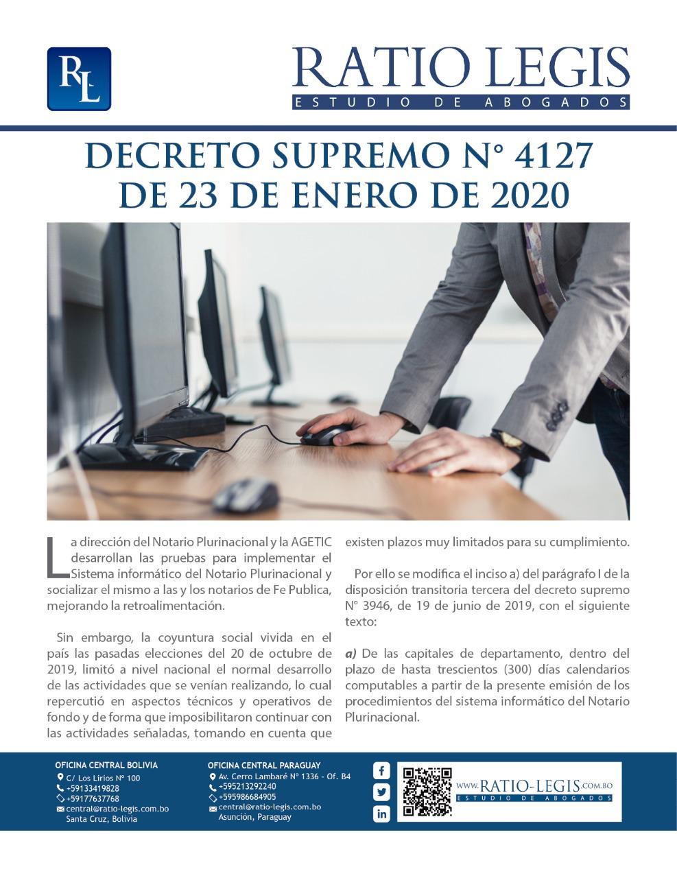 (Español) Decreto Supremo Nº 4127 de 23 de Enero de 2020