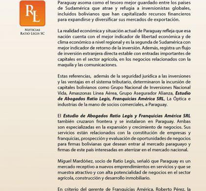 Ratio Legis y otras empresas bolivianas operan en Paraguay