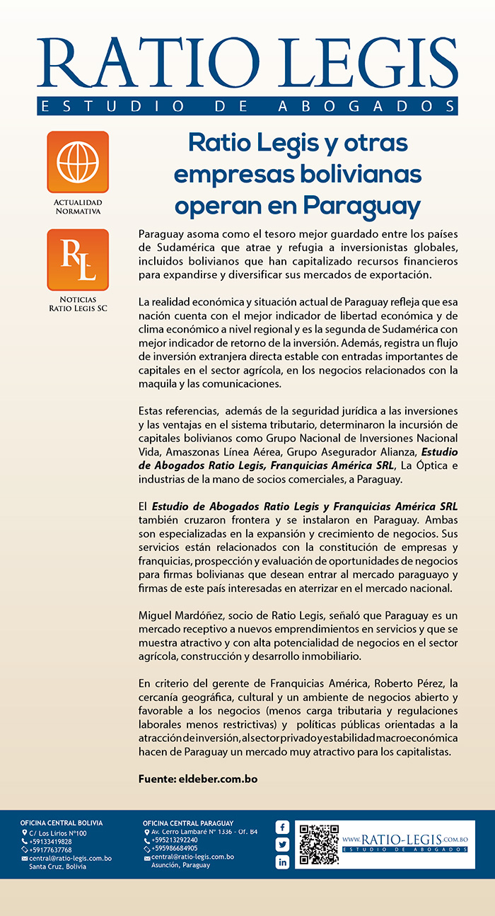 (Español) Ratio Legis y otras empresas bolivianas operan en Paraguay