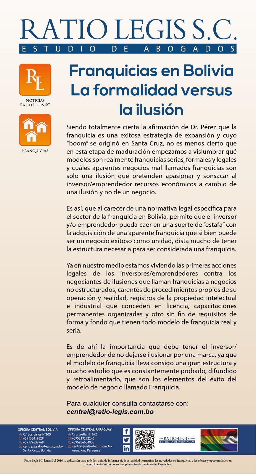 (Español) Franquicias en Bolivia. La formalidad versus la ilusión