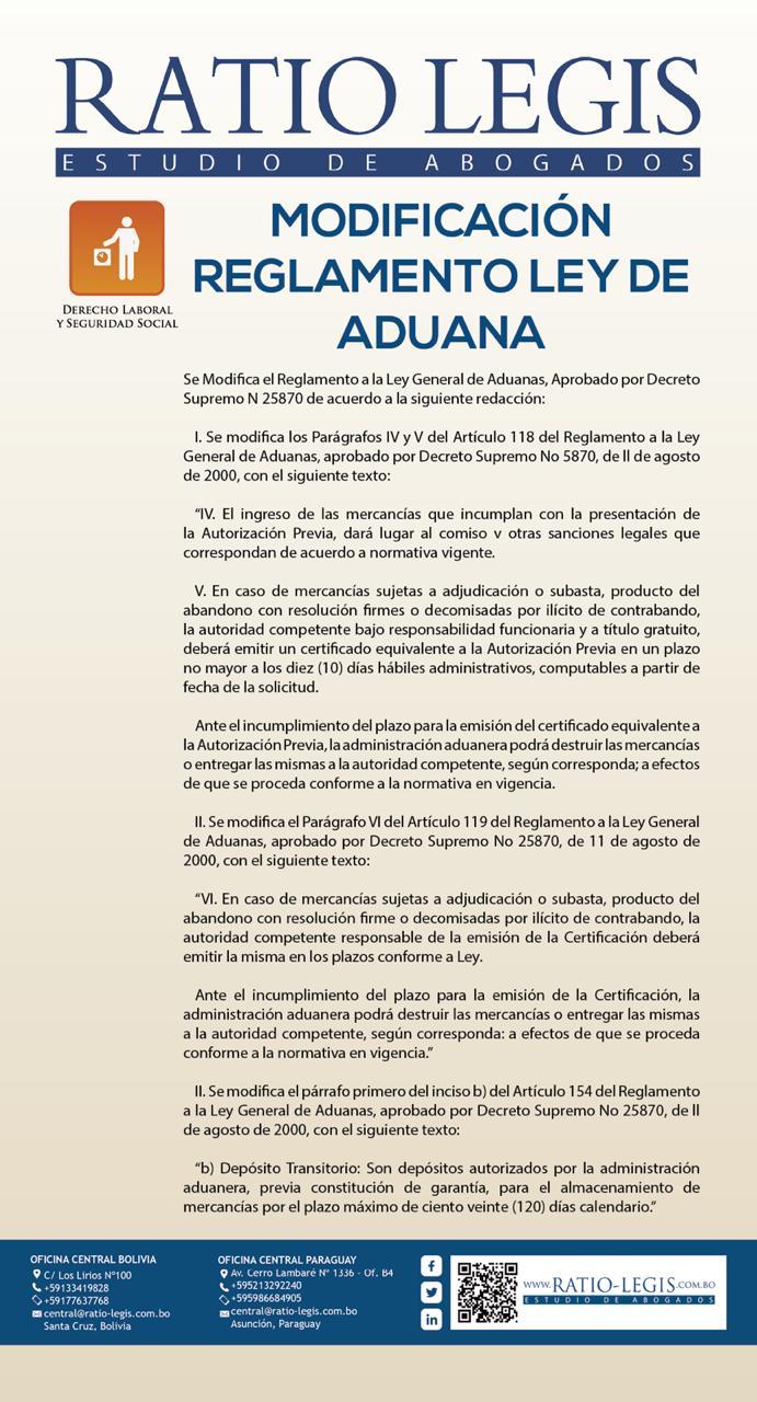 Modificación Reglamento Ley de Aduana