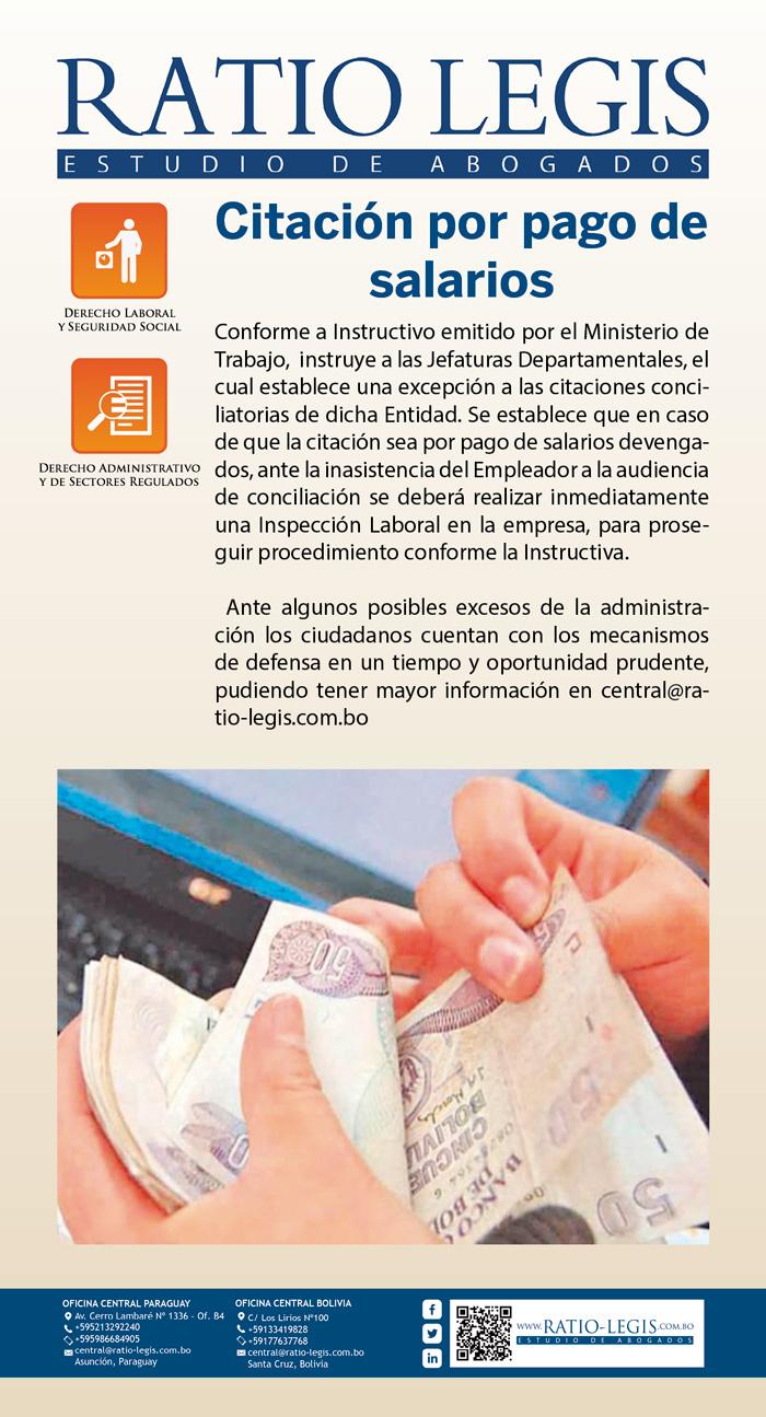 (Español) Citación por pago de salarios