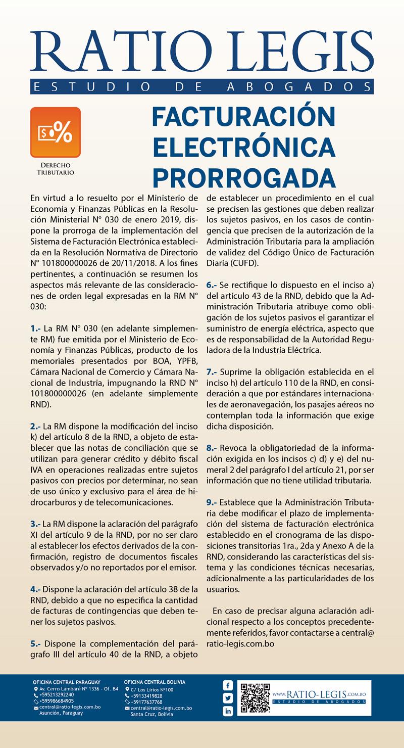 (Español) Facturación Electrónica Prorrogada