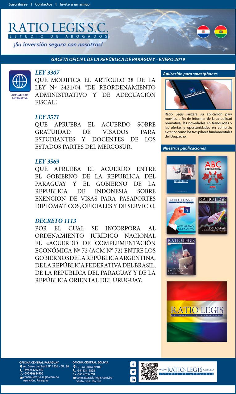 (Español) Gaceta Oficial de la República de Paraguay – Enero 2019