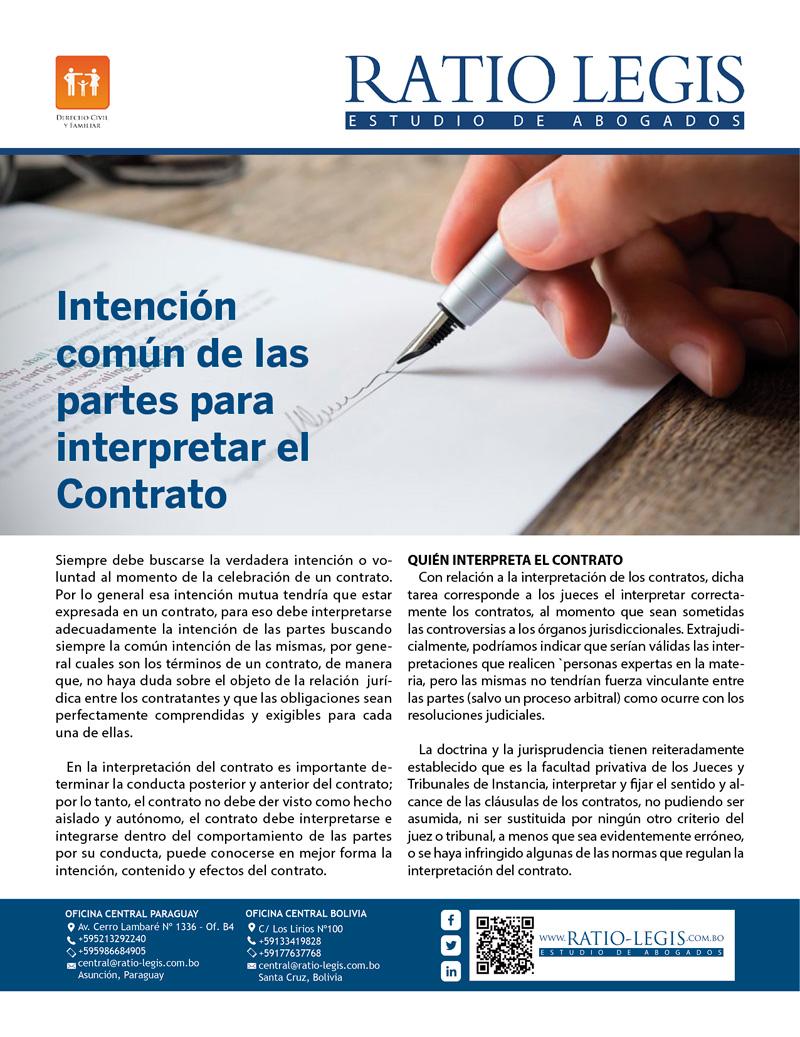 Intención común de las partes para interpretar el contrato