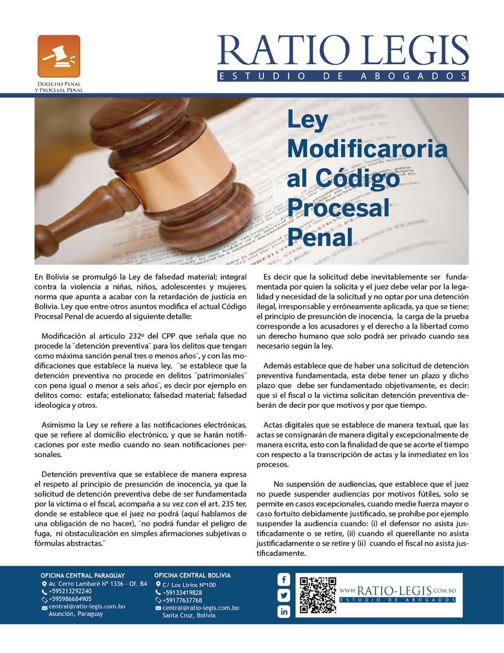 Ley Modificatoria al Código Procesal Penal
